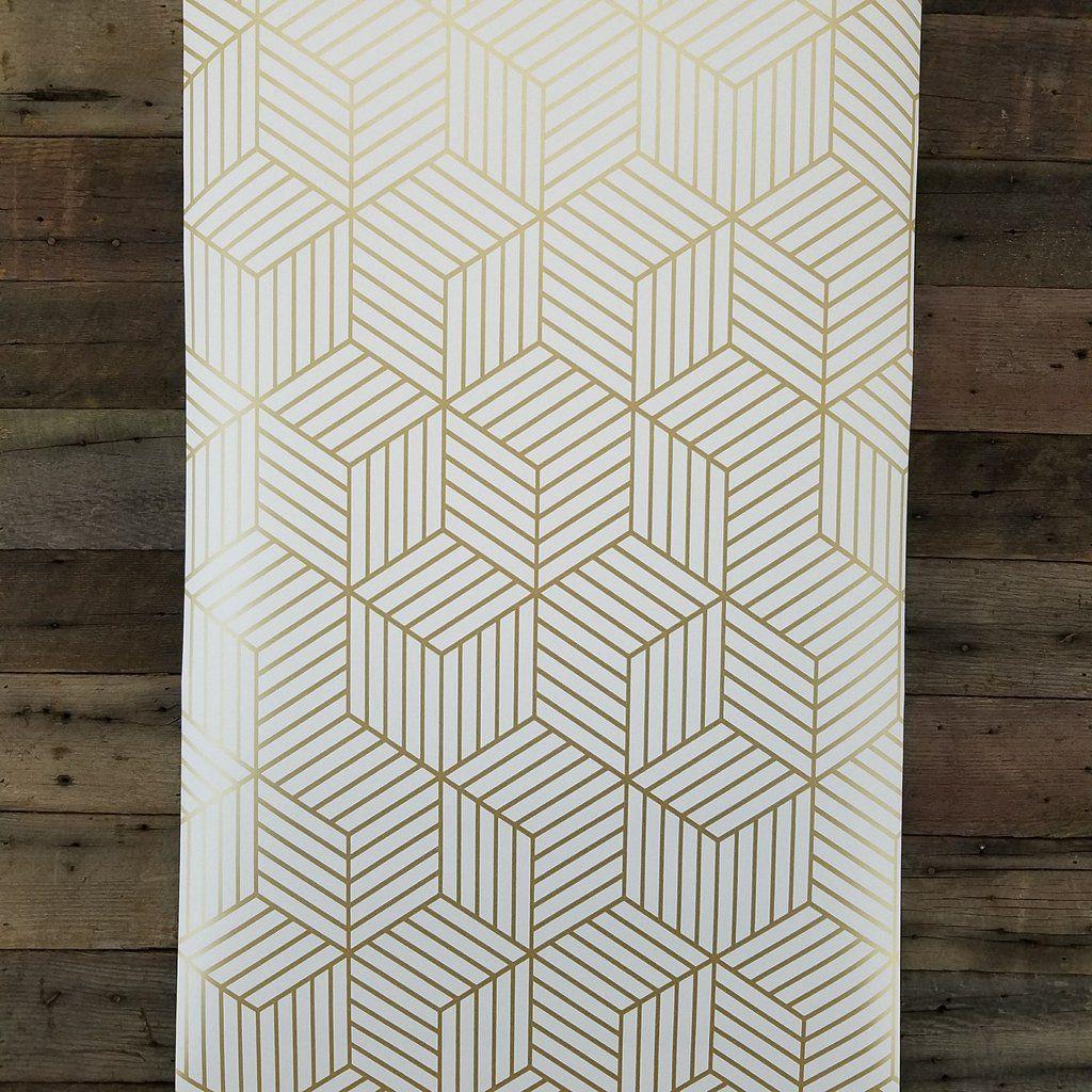 Geometric Gold Hexagon Peel And Stick Mid Century Modern Wallpaper Rmk10704wp Mid Century Modern Wallpaper Modern Wallpaper Modern Floor Tiles