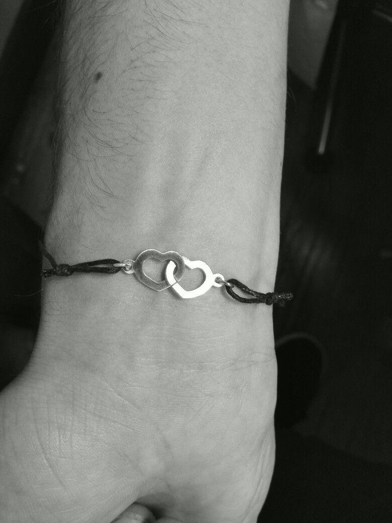 Bracelet coeurs entrelacés argent 925 et cordon coton ciré