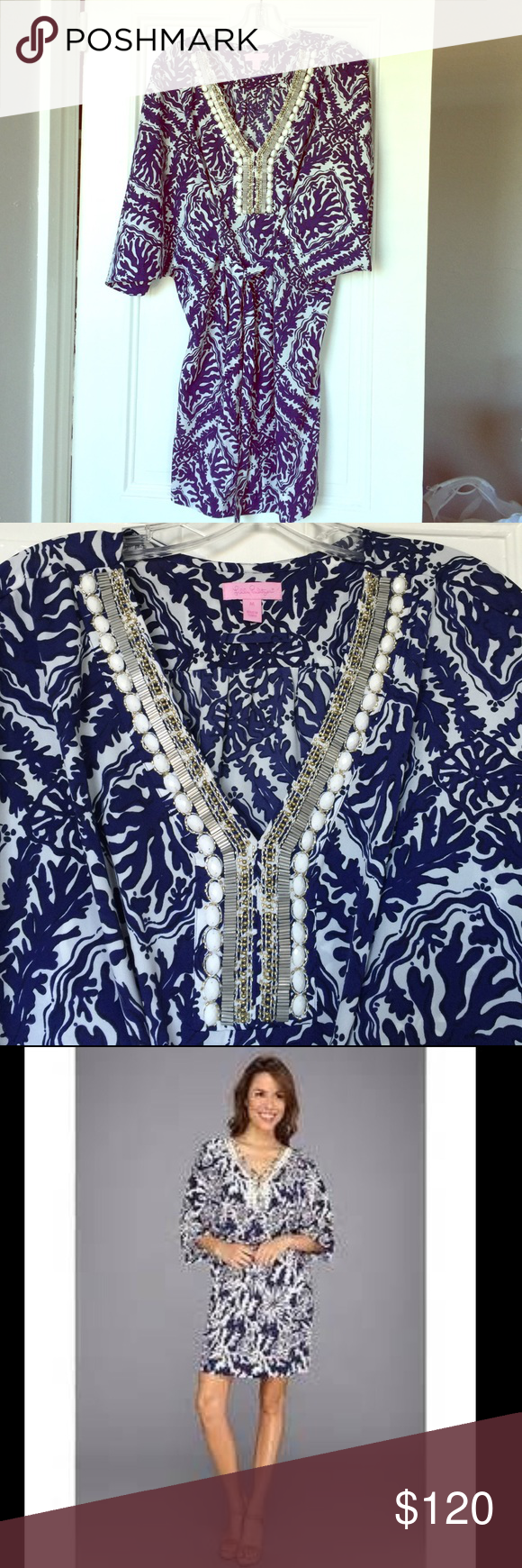 Lilly Pulitzer Wilda Caftan Dress Gorgeous navy and white print with gold detailing! Lilly Pulitzer Dresses Mini