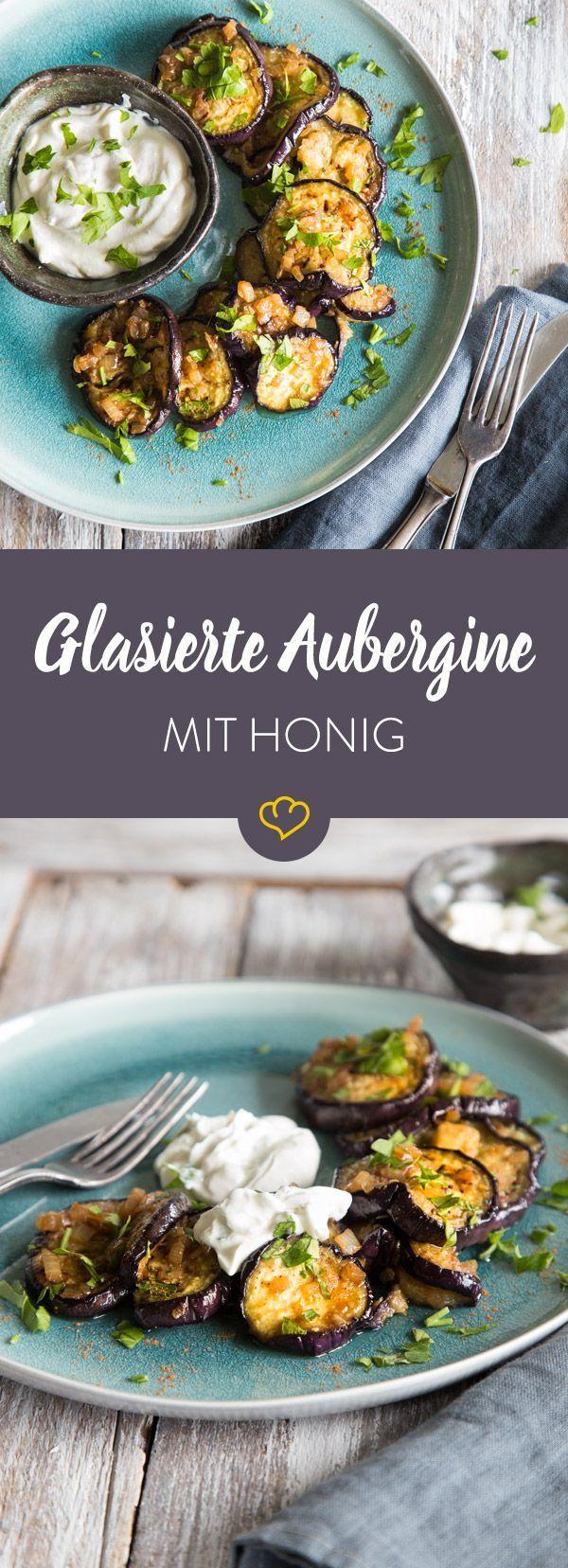 Glasierte Honig-Aubergine mit Joghurt-Dip #aubergine #glasierte #honig #joghurt #healthyrecipes