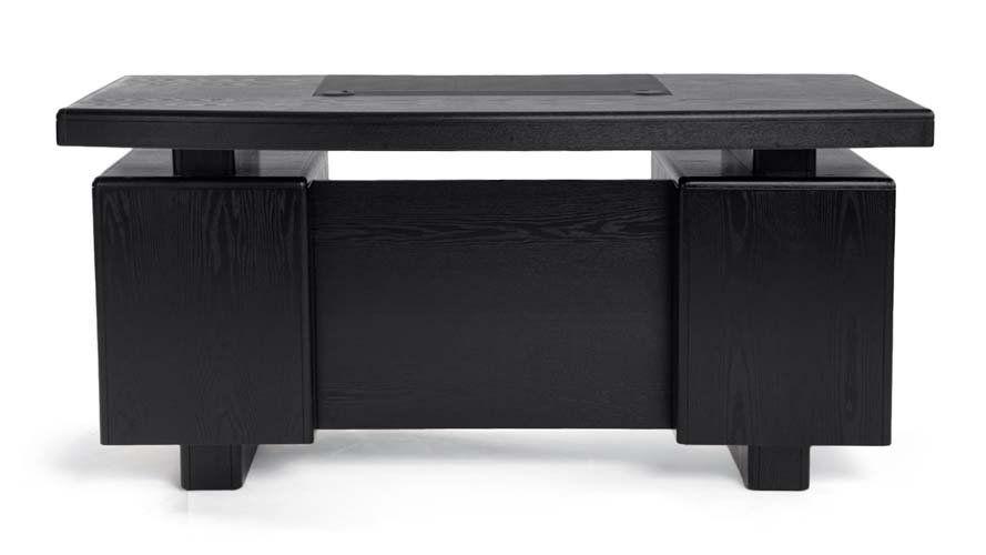 Black Desk With Drawers On Both Sides Modern Wood Desk Black