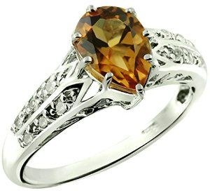 1.42 Carats Citrine with White Topaz Silver Ring available at joyfulcrown.com