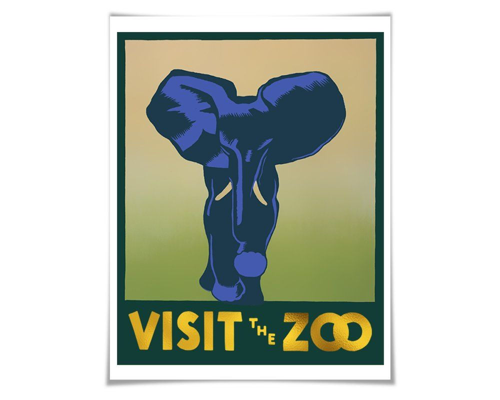"Visit the Zoo WPA Poster Gold Foil Art Print. Elephant Art Vintage Poster Zoo Animal Retro Art History. As part of the wonderful Works Progress Administration posters designed in the 1930s, here is the striking ""Visit the Zoo"" poster designed by Hugh Stevenson in 1936. I wanted to create art that used both the gorgeous poster designs and my genuine foil print process. The text is highlighted in sparkly and striking real gold foil. These beautiful public domain vintage posters were created…"