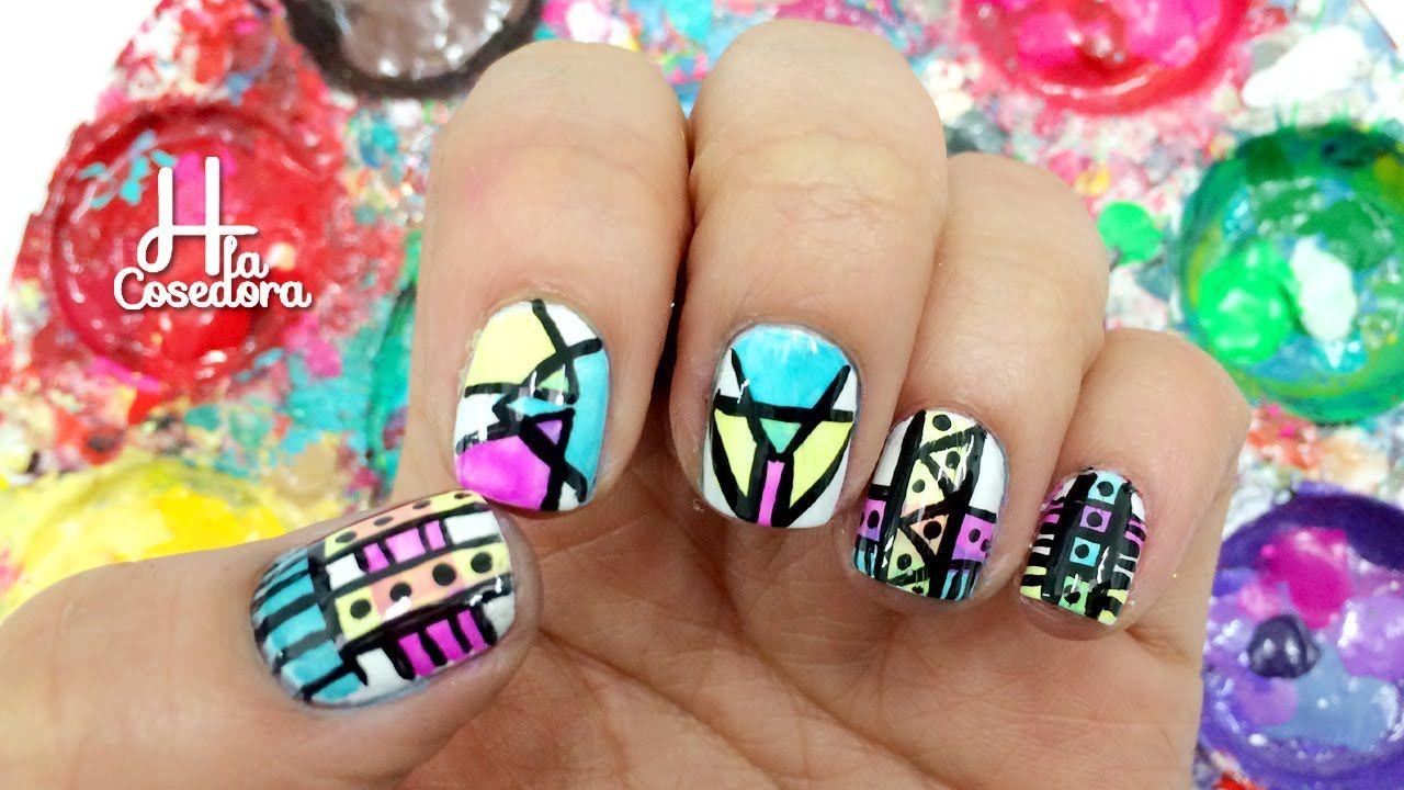 Decoración de uñas Azteca o Tribal - Paso a Paso fácil de Nail Art y ...