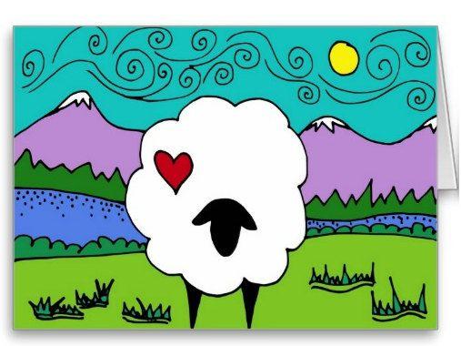Sheep Black Faced Sheep 469 2012 by JulieKnapp on Etsy, $4.00