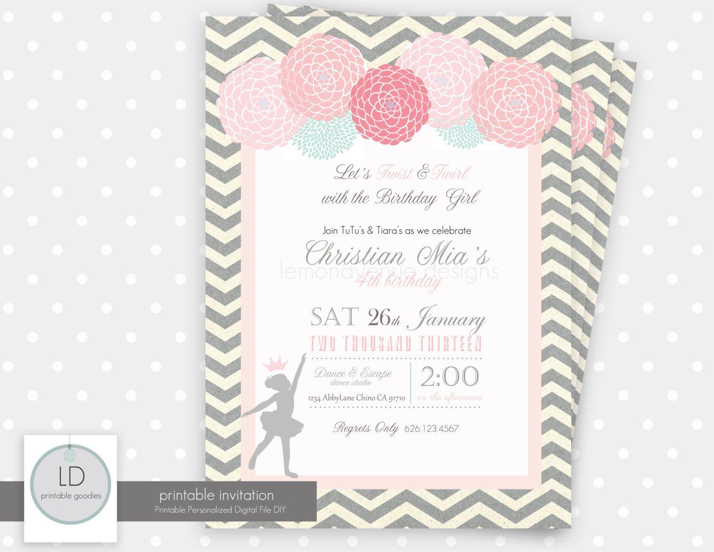 Ballerina Invitation by LemonAvenueDesigns on Etsy | Birthday party ...