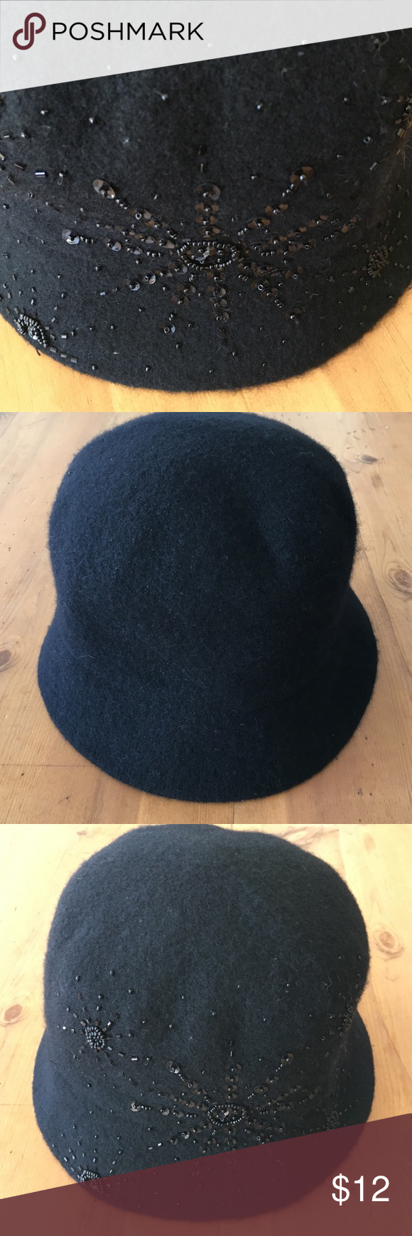 55dabf69663 Croft   Barrow Black Sequence Hat Excellent condition sequence all in good  condition 72 percent wool 28 percent polyester black with sequence adult  women s ...