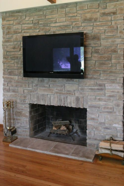 Love a stone fireplace so easy to do with our faux stone sheets