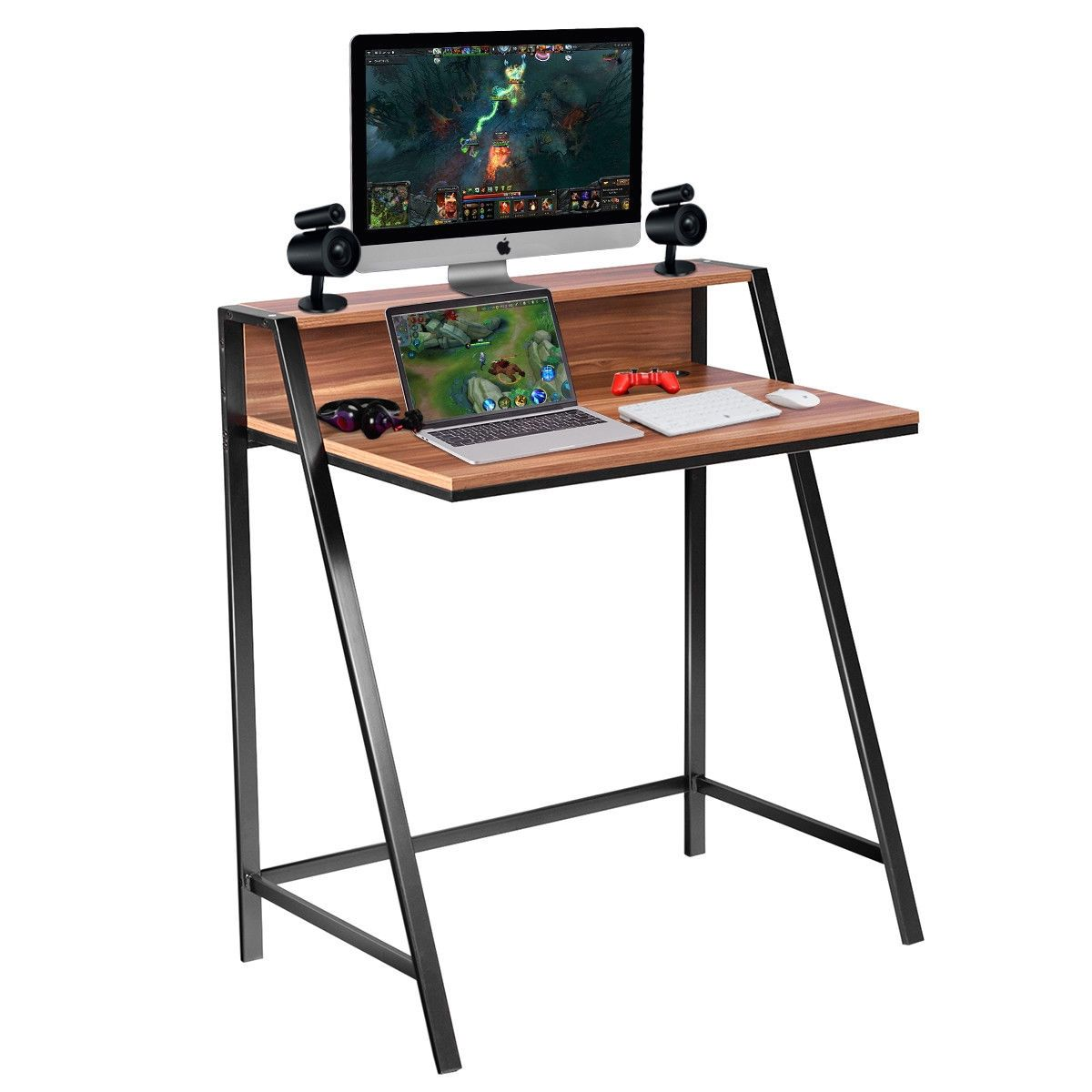 2 Tier Home Office Study Workstation Computer Desk In 2020