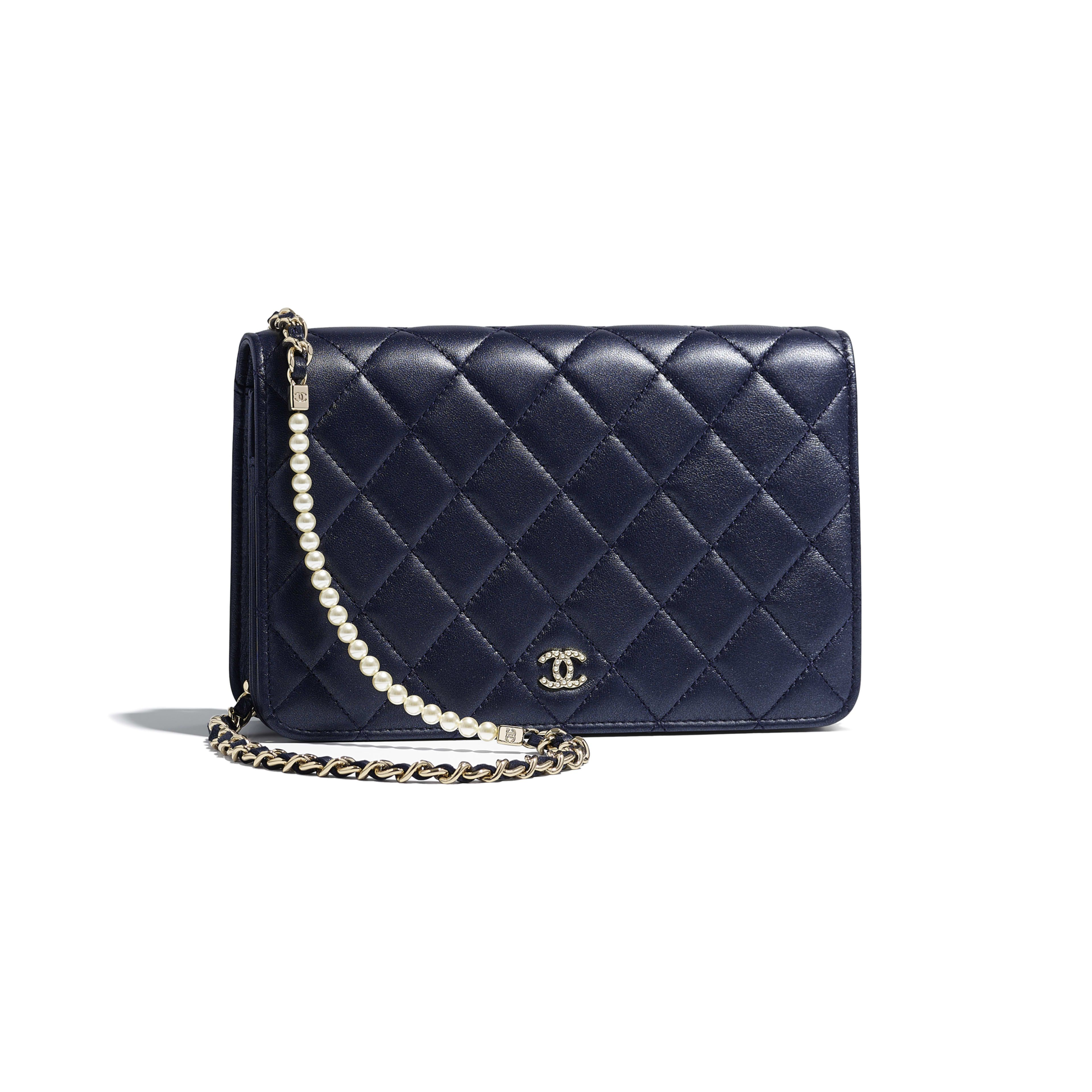 2d4ffb97dc Wallet on Chain - Navy Blue - Iridescent Lambskin & Gold-Tone Metal -  Default view - see full sized version