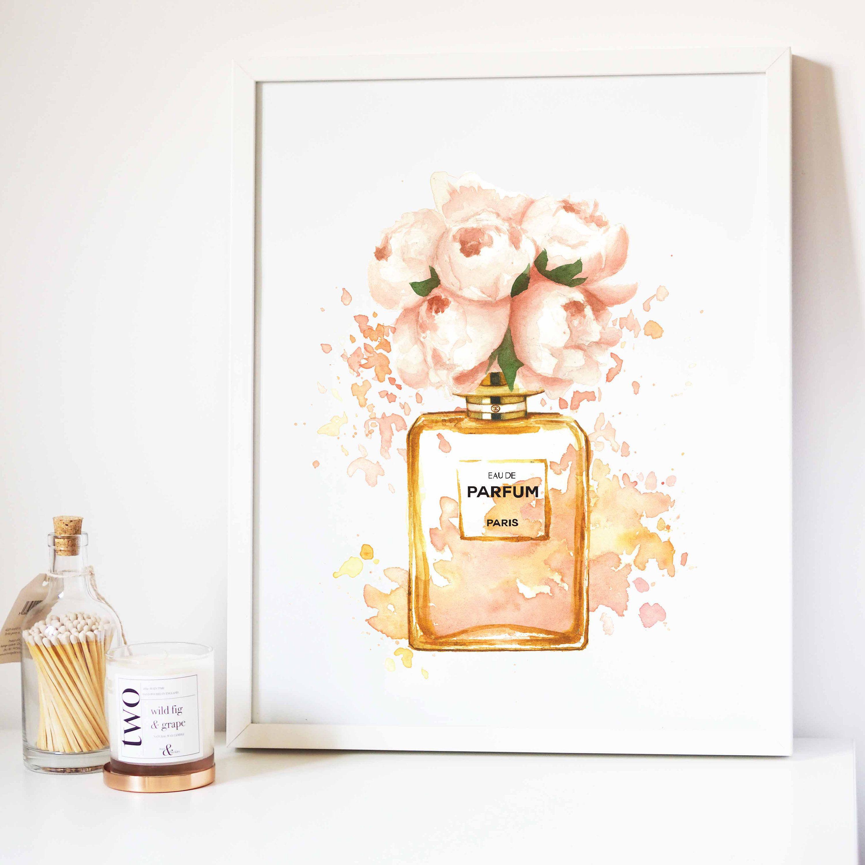 Perfume Bottle Printfashion Printablewatercolor Etsy Perfume Bottles Makeup Wall Art Perfume