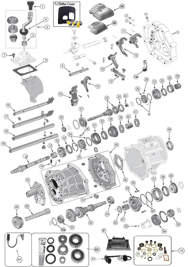 Aisin AX15 Transmission Parts for Wrangler TJ, YJ, Cherokee XJ, Grand Cherokee ZJ & Comanche MJ