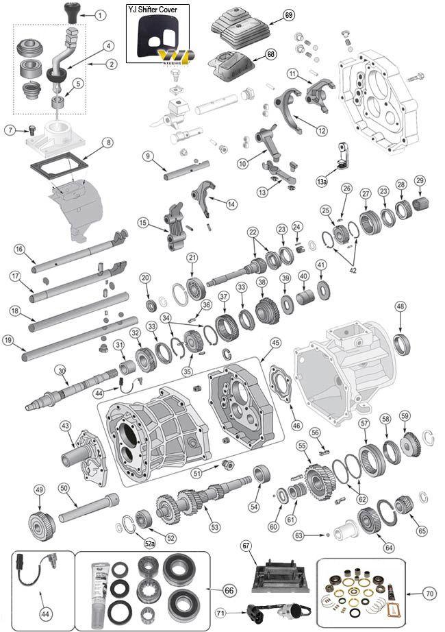 Aisin AX15 Transmission Parts for Wrangler TJ, YJ, Cherokee XJ, Grand Cherokee ZJ & Comanche MJ