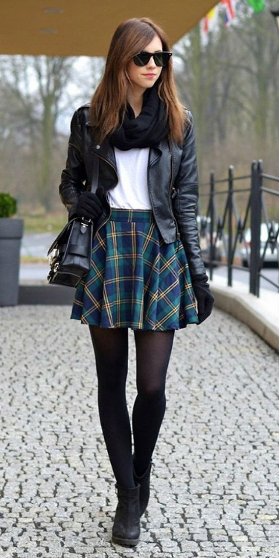 Skater Skirt With Tights Tumblr