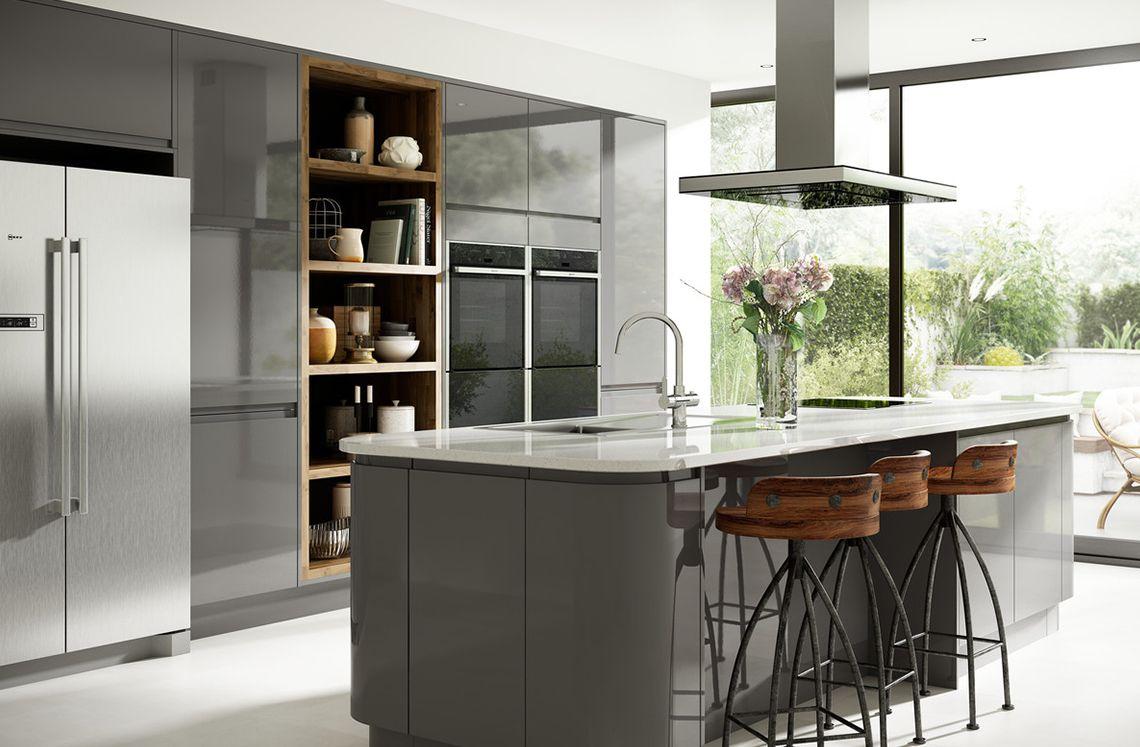 Contemporary Kitchen Grey Holborn Grey Gloss Kitchen  Modern Range  Benchmarx  Cocinas