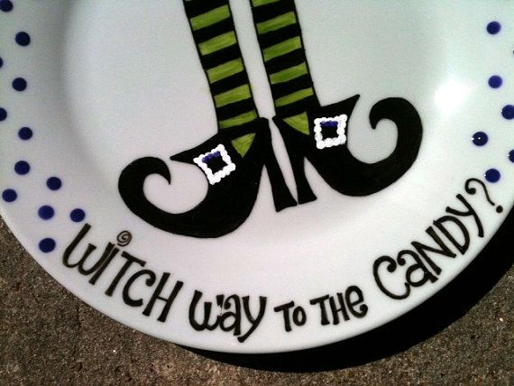 hand painted halloween plate serving tray can be by thewildbaby 2900 - Halloween Plates Ceramic