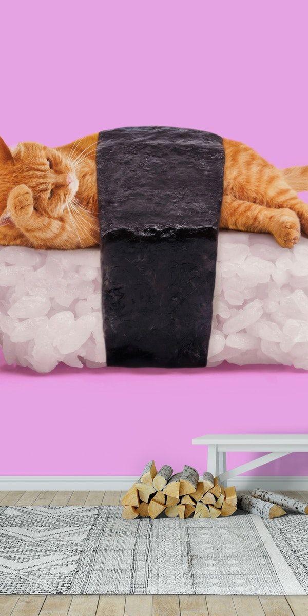 SUSHI CAT Wall Mural / Wallpaper Animals in 2019 Sushi
