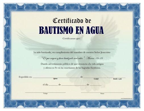 certificado de bautismo en agua