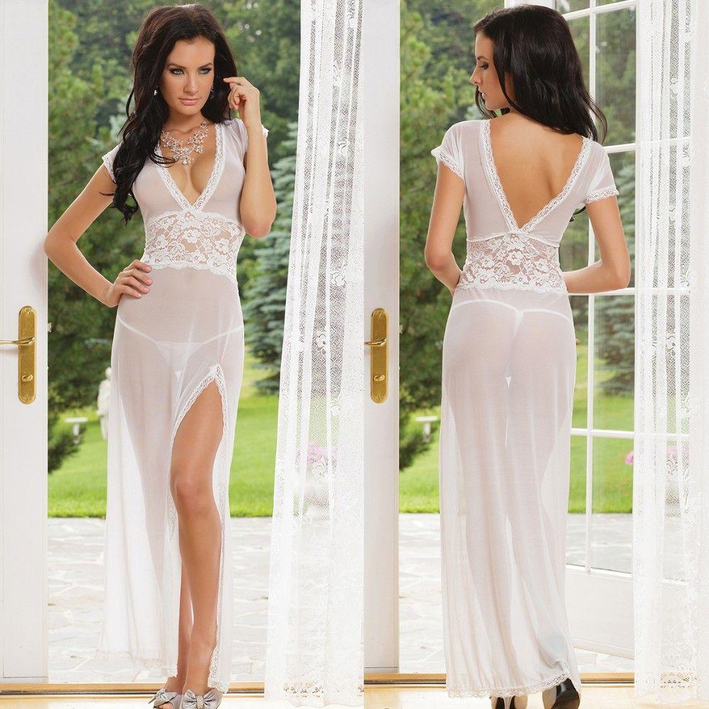 ee6a32e1f55 Blanc noir rouge sexy dressing longue nuit robe sheer transparent robe de  soirée chemise de nuit nuisette lingerie de nuit pour les femmes dans  Nuisettes et ...