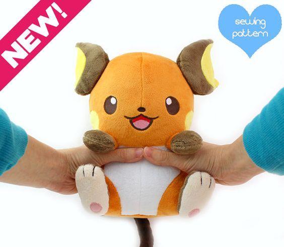 PDF sewing pattern - Raichu Pokemon plush - kawaii plushie 11\