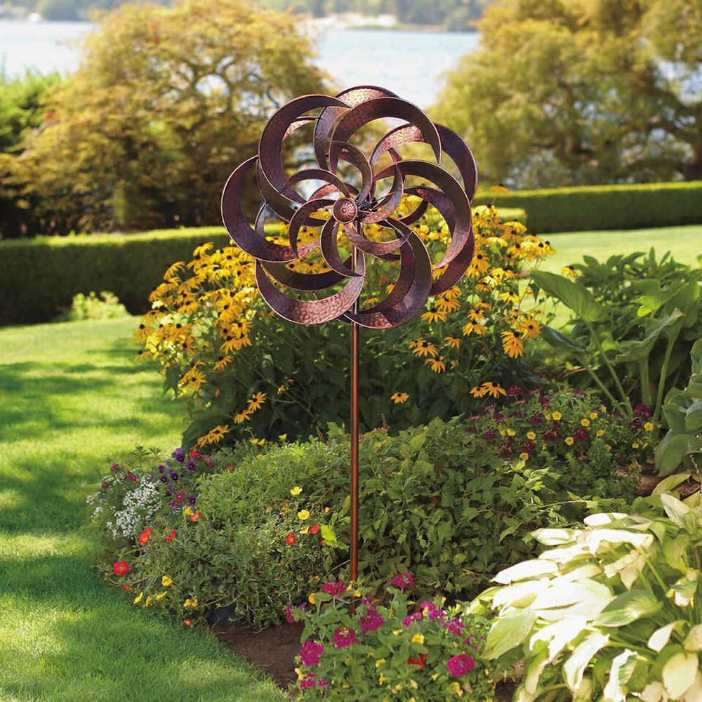 Wind Spinners For The Garden Sculpture Windmill Yard Lawn Stake Large Steel  New