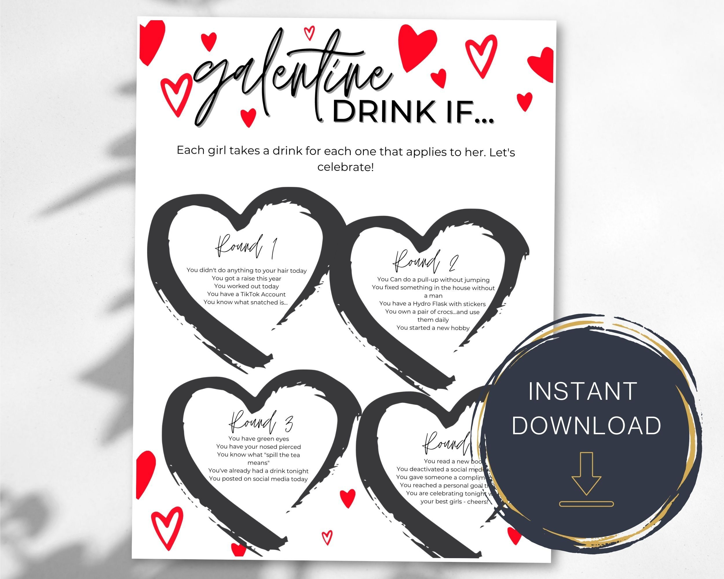 Printable Galentine S Day Drink If Galentine S Day Etsy In 2021 Galentines Virtual Party Letter Paper