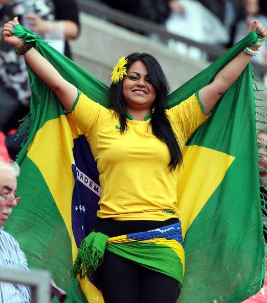 Beautiful soccer fan brazil can