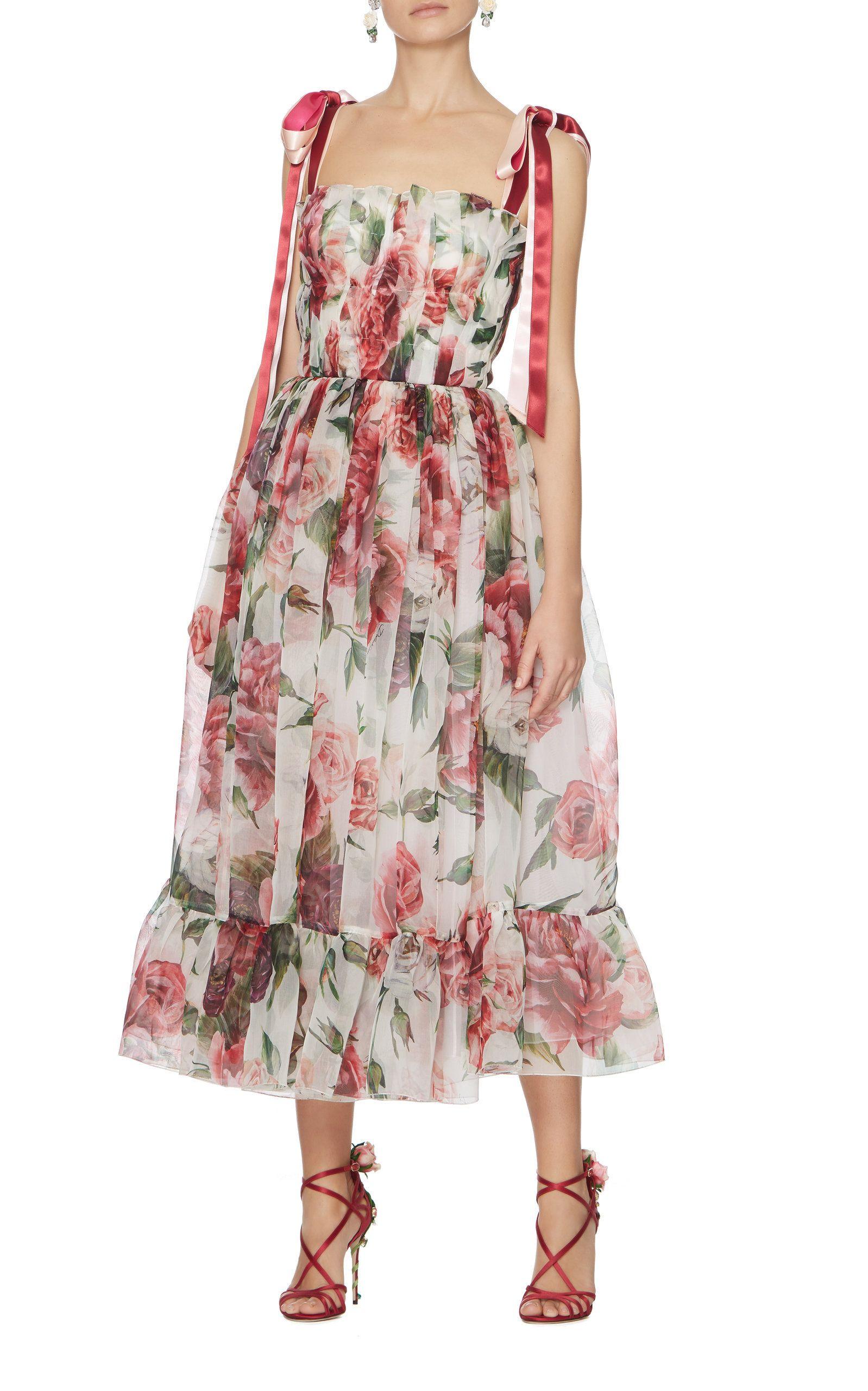0a632181fc2f0 Dolce   Gabbana Peony-Print Organza Midi Dress Floral   Clothing ...