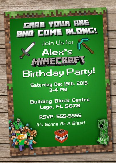 New to PrintzNThings on Etsy Minecraft Birthday Invitation