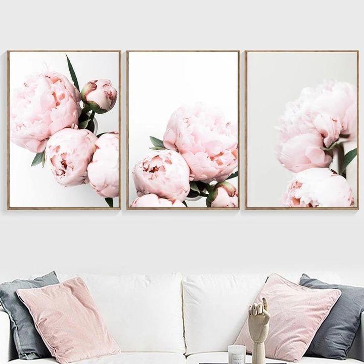 Wall Art Pink Peony Flower Plants Canvas Prints Lola Doo Flower Wall Art Pink Peonies Art Pink Peonies