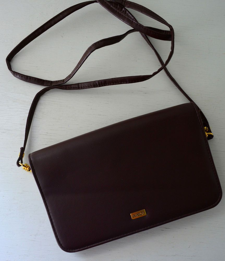 Buxton Vintage Maroon Dk Burgundy Leather Crossbody Purse Wallet Slots Mirror Bs