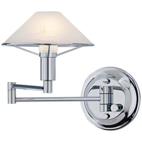 Holtkoetter Alabaster White Glass Chrome Swing Arm Wall Lamp Bedroom Lighting Pinterest