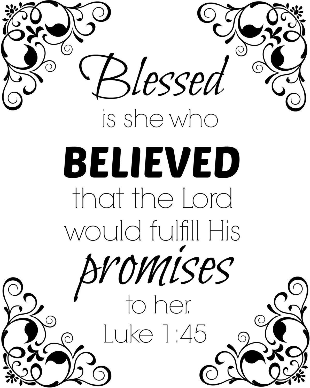 Luke 1:45 Bible verse quote 8x10 digital print in black