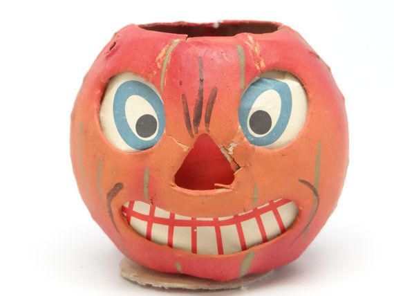 1930's German Jack O Lantern Antique Hand Painted by exploremag