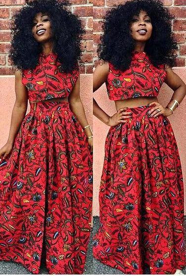 540871b1bd17a Ankara Crop top   Maxi Skirt Set. Loose fitting Ankara crop top and a high  waist maxi skirt. Skirt has a slit infront. It fastens at the back with a  zipper.