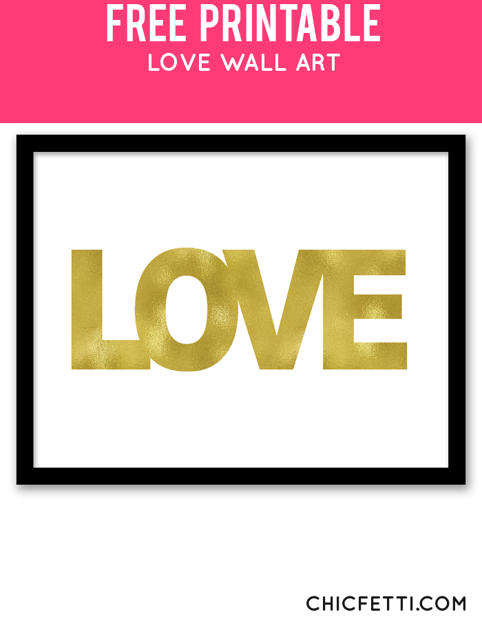 Love Wall Art (Gold) | Easy wall art, Easy wall and Free printable