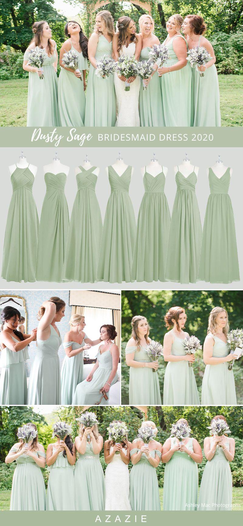 2020 Wedding Color Ideas Dusty Sage Bridesmaid Dresses In 2020 Bridesmaid Dresses Dusty Sage Sage Bridesmaid Dresses Bridesmaid Dress Color Schemes