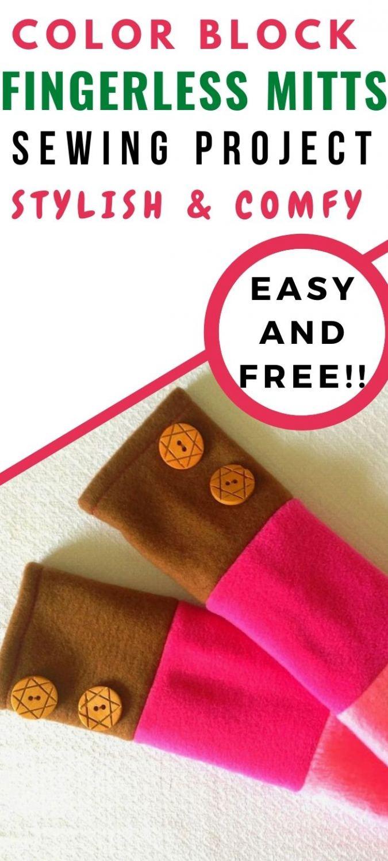 Fingerless Gloves Sewing Pattern, Fleece Mittens, Women's ...