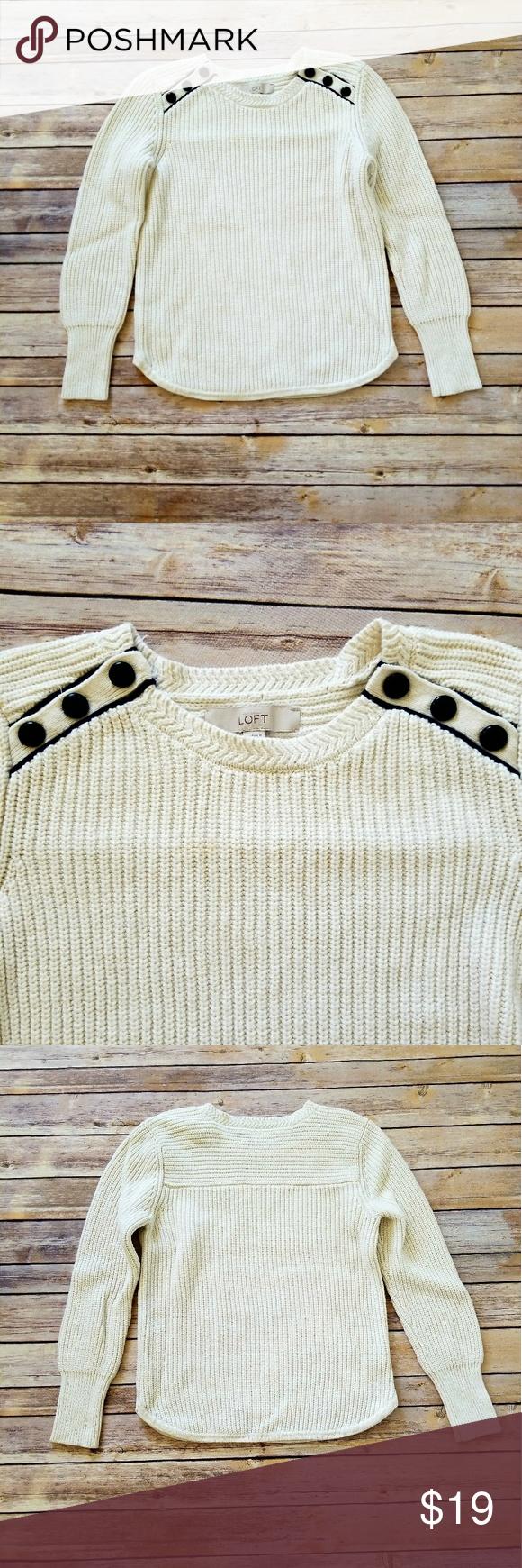 LOFT Cream Color Knit Sweater | Lofts, Scoop neck and Shoulder