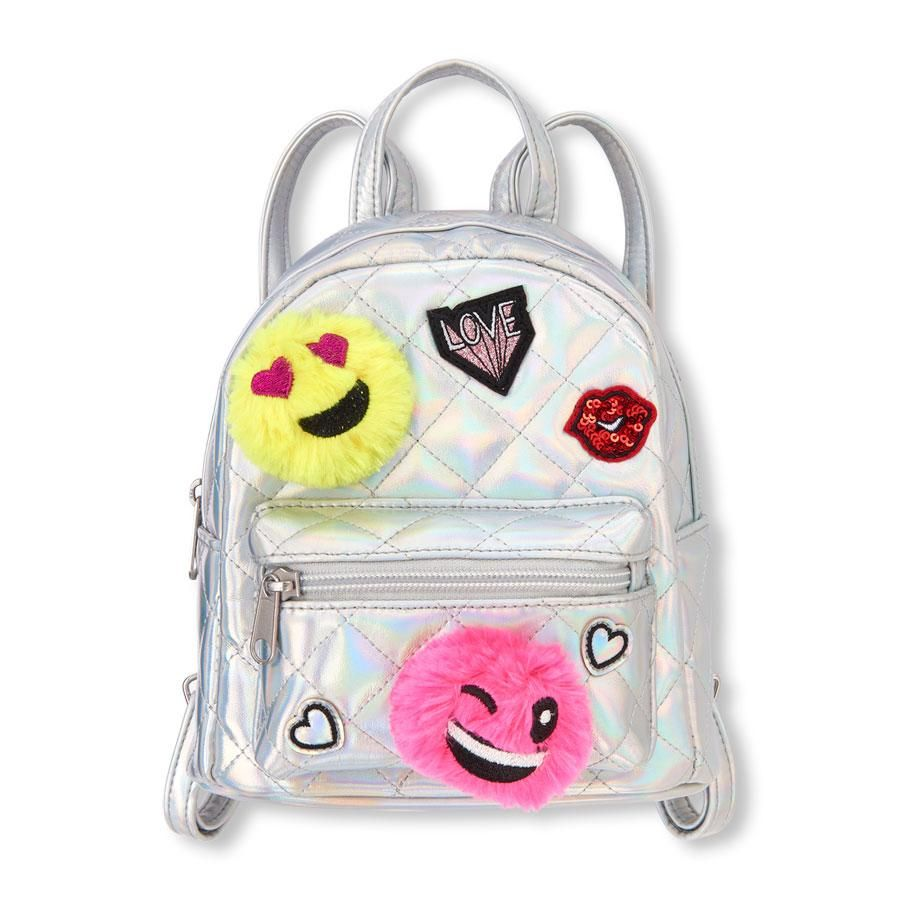b3d9857d099a Girls Emoji Quilted Holographic Mini Backpack