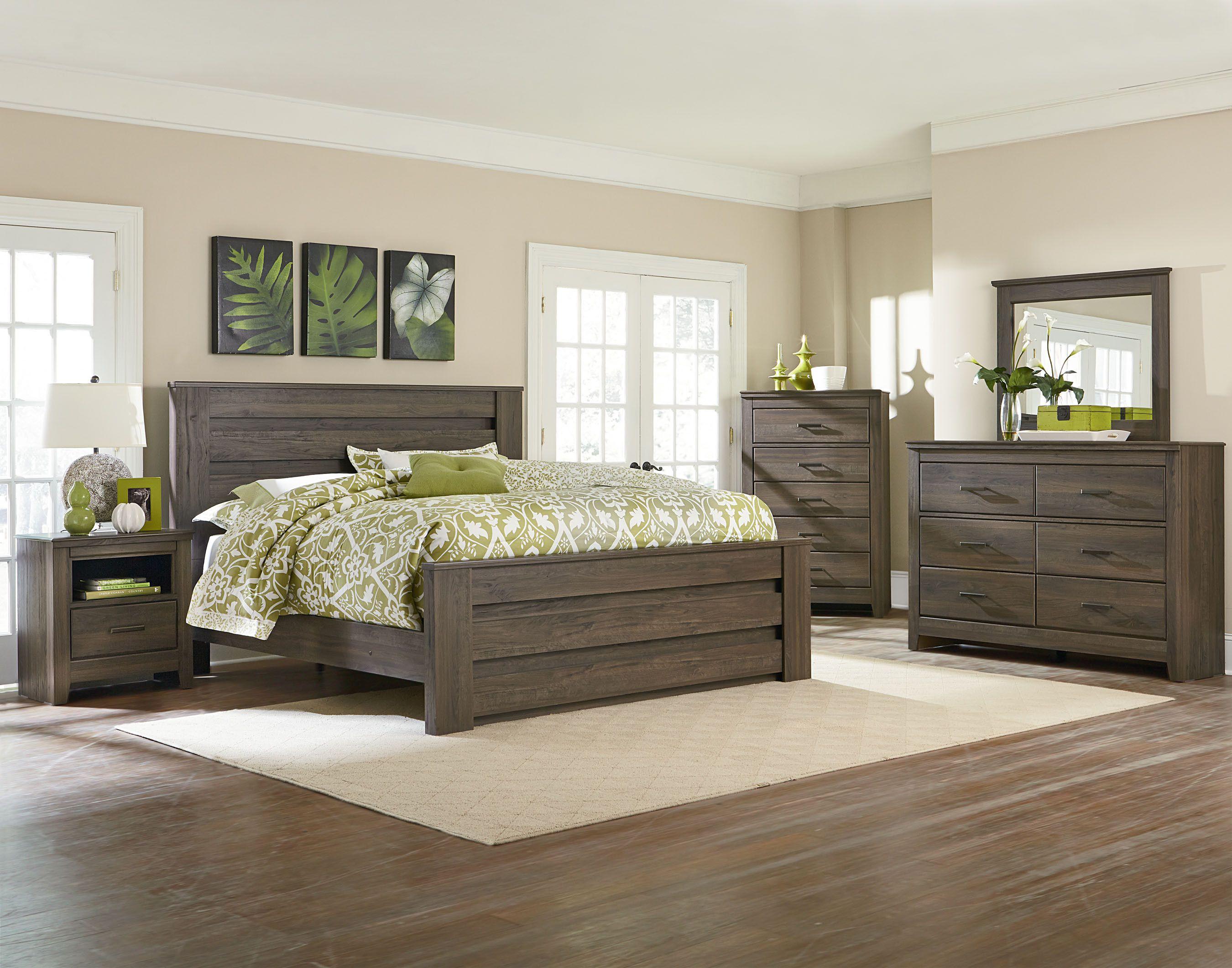 Best Dark Brown Weathered Oak Style Bedroom Set American 400 x 300