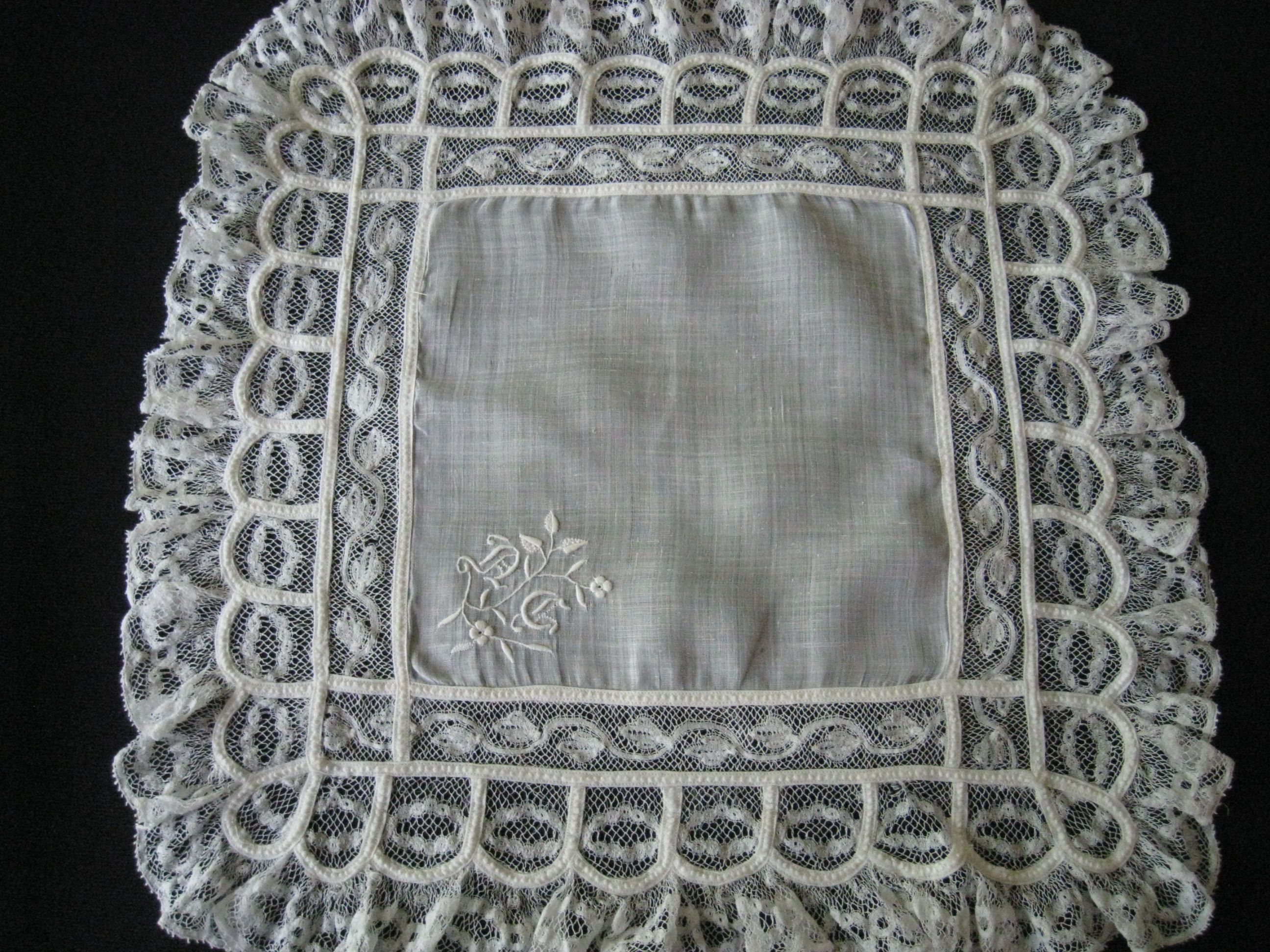 Antique Wedding Hankie Embroidery Lace and Monogram