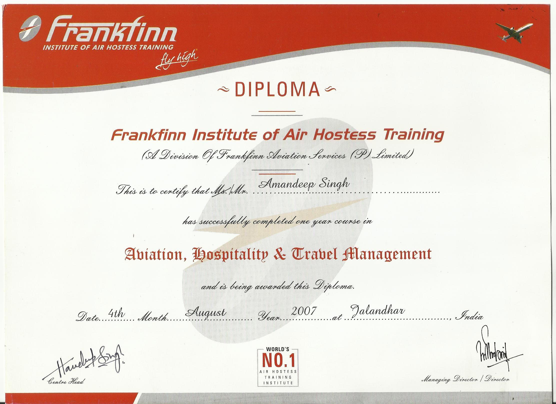 Frankfinn Diploma Higher National Certificate Aviation Hospitality