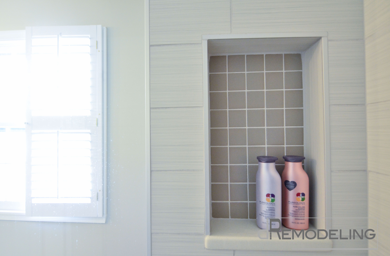 Niche with Quartz Shelf Not Grout To Worry Bathroom