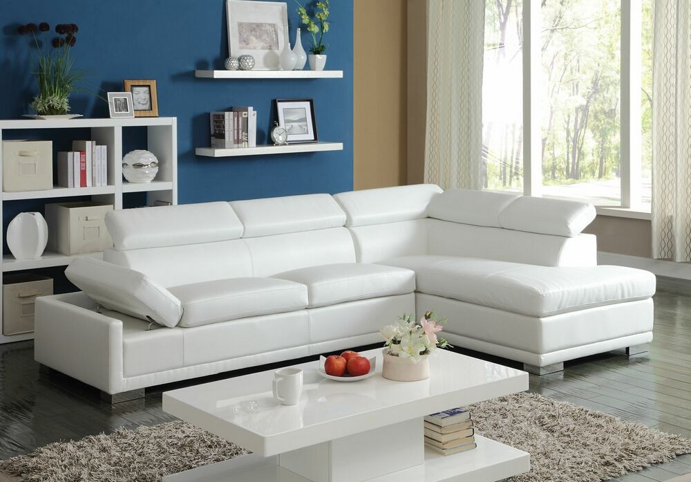 2 Pc Cleon Collection Modern Styling White Bonded Leather