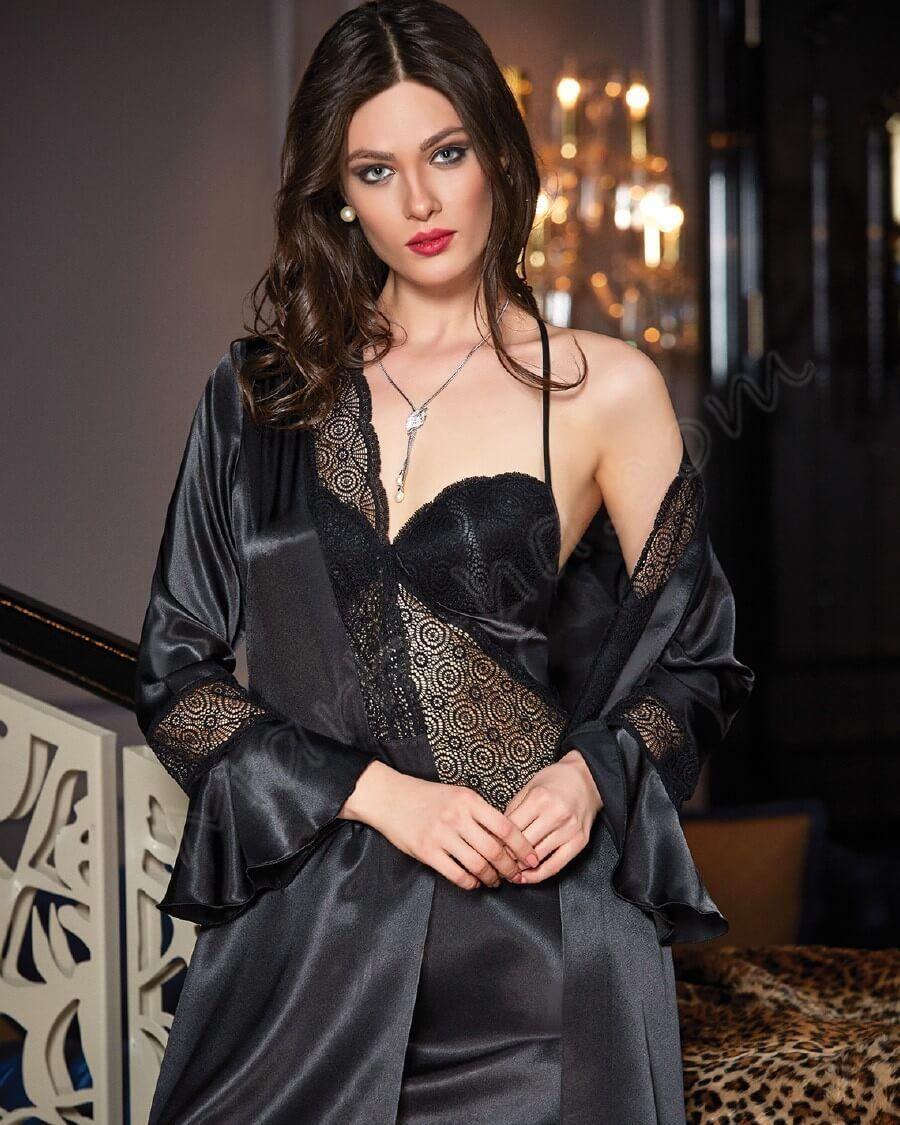 d274860ca6b Sexy in black Satin Sleepwear, Pyjama Satin, Satin Nightie, Satin Gown,  Satin