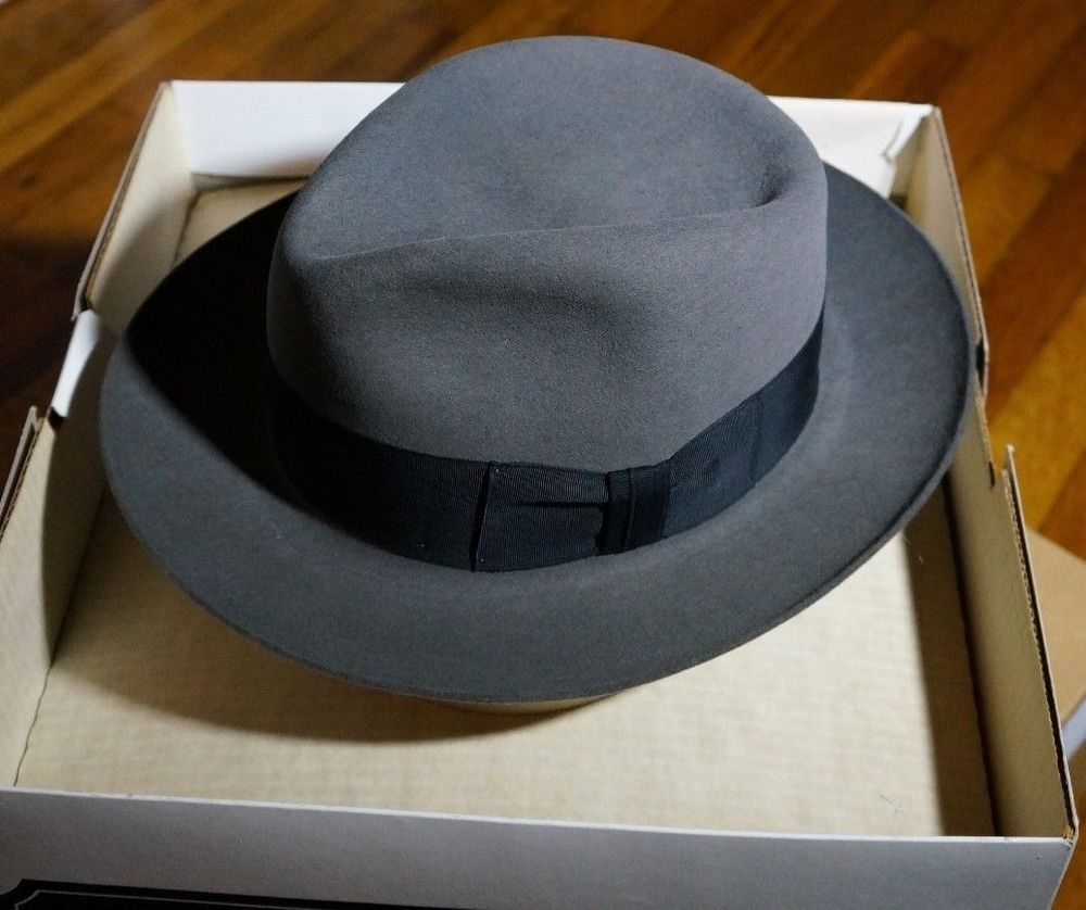 7ae01c850 Raiders Of The Lost Ark Gray Clipper Fedora Hat 57cm Indiana Jones ...
