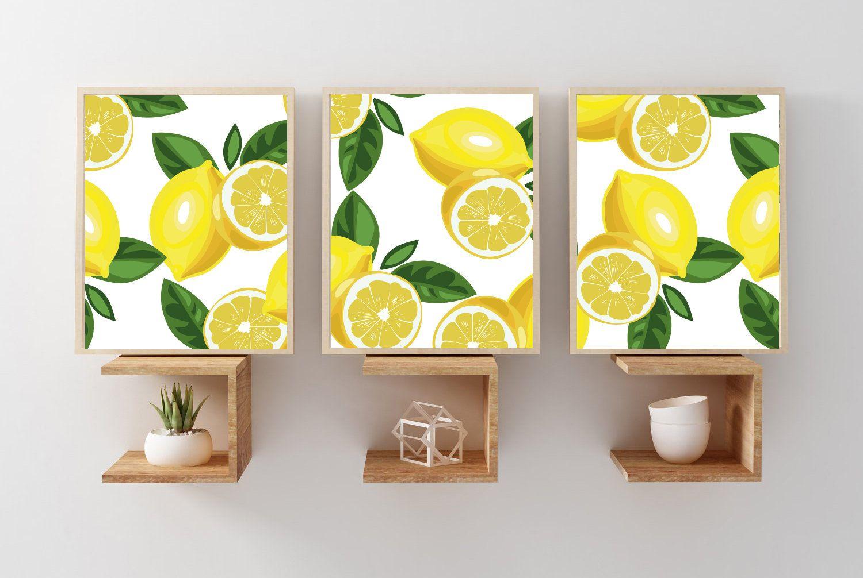 Lemon Wall Art Print Lemon Art Prints Or Canvas Set Of 3 Etsy Lemon Art Flower Prints Art Wall Art Prints