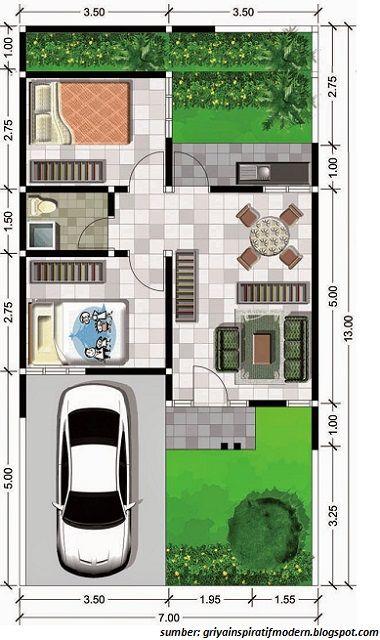 Gambar Denah Rumah Minimalis Ukuran 6x10 Terbaru Desain