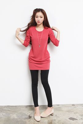 Dresses :: Casual :: exposed metal back zipper side pocket tunic dress - Korean Fashion @ 스타일지